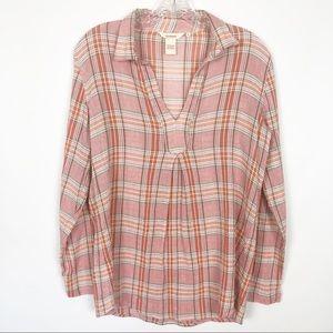 Sundance / Pink plaid long sleeve shirt S